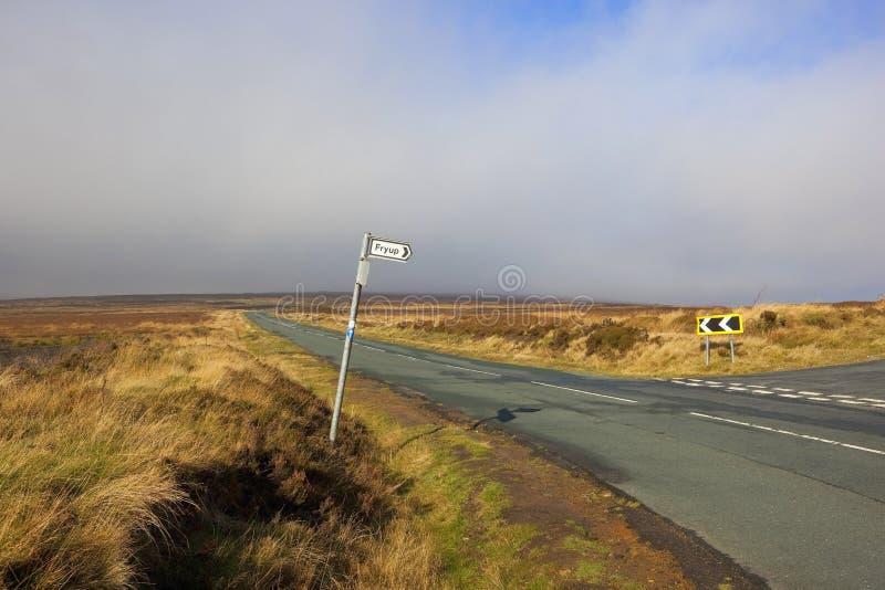 Segnale stradale di Moorland immagine stock
