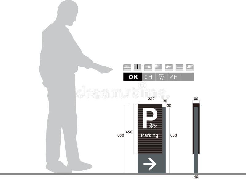 Segnale stradale di parcheggio su fondo bianco immagine stock