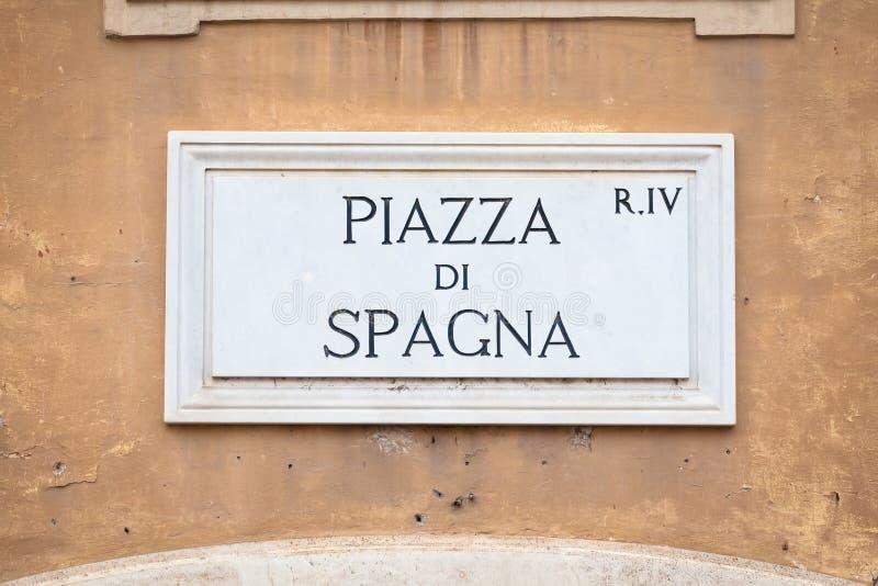 Segnale stradale: Quadrato di Piazza di Spagna Spagna a Roma immagine stock libera da diritti