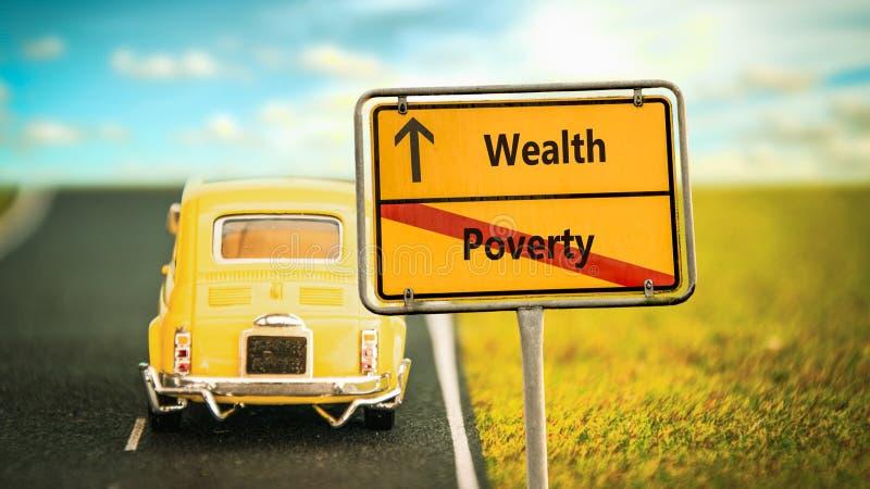 Segnale stradale ricco contro povertà immagine stock
