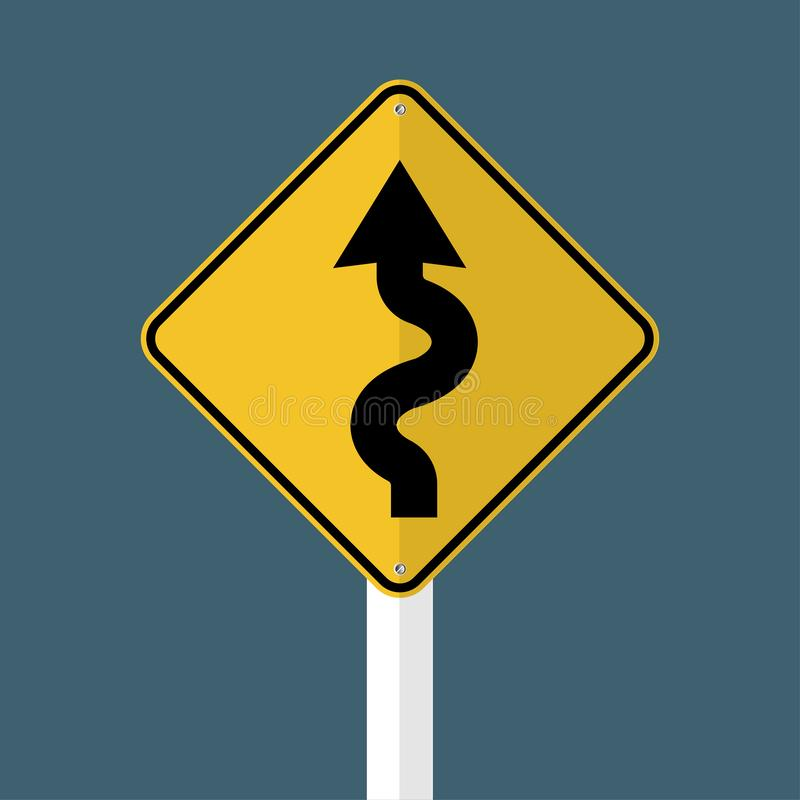 Segnale stradale sinistro di avvolgimento sul fondo grigio del cielo Illustrazione di vettore illustrazione di stock