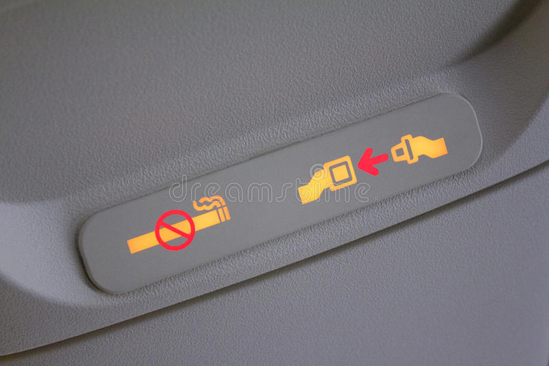 Segnaletica di sicurezza dell'aeroplano immagini stock libere da diritti