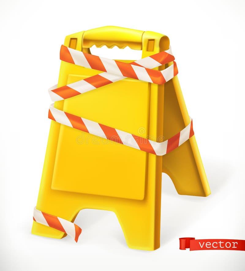 Segnaletica di sicurezza Segno bagnato del pavimento di avvertenza icona di vettore 3d illustrazione vettoriale