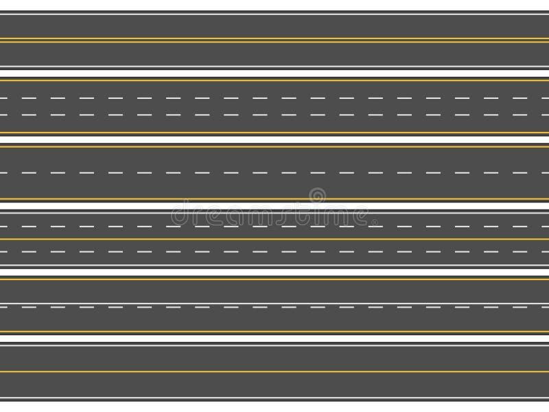 Segnaletica stradale della strada principale Strade asfaltate diritte orizzontali, linee moderne della carreggiata della via o ve royalty illustrazione gratis