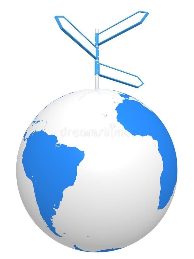Segnali di direzione blu della strada sulla sfera del globo del mondo royalty illustrazione gratis