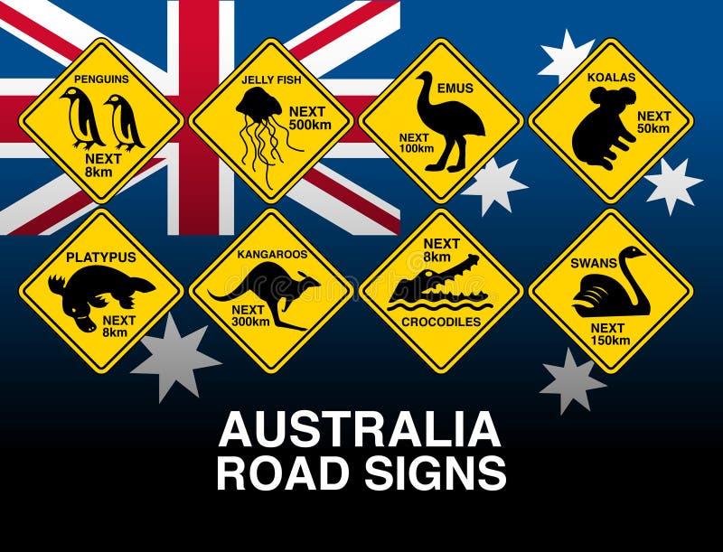 Segnali di pericolo della strada gialla australiana con la bandiera illustrazione di stock