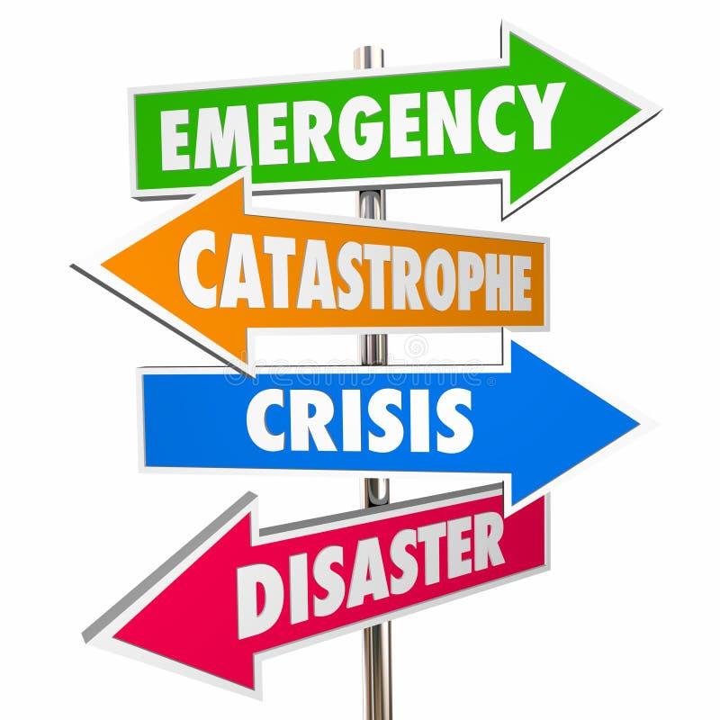 Segnali di pericolo di disastro di catastrofe di crisi di emergenza royalty illustrazione gratis