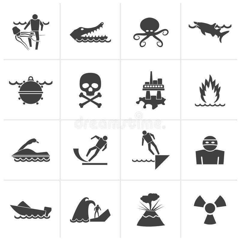 Segnali di pericolo neri per i pericoli in mare, in oceano, in spiaggia ed in fiumi illustrazione di stock