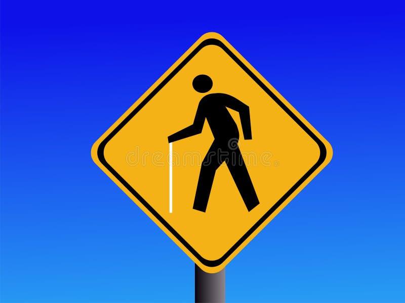 Segnali di pericolo pedonali ciechi illustrazione di stock