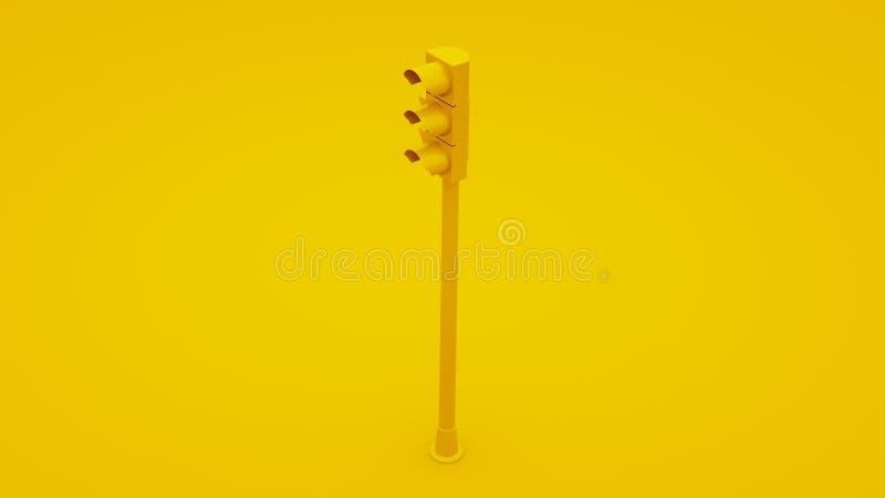 Segnali luminosi gialli di traffico illustrazione 3D illustrazione vettoriale