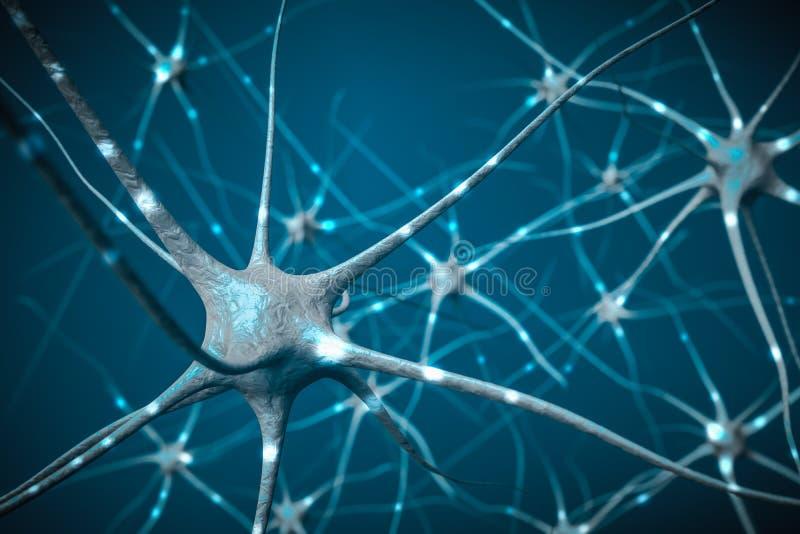 Segnali in neuroni in cervello, illustrazione 3D della rete neurale royalty illustrazione gratis