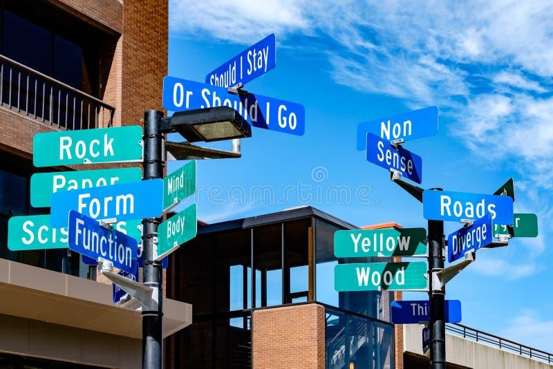 Segnali stradali che descrivono concetto di indecisione immagini stock