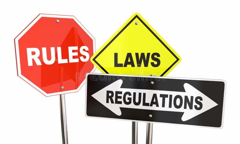 Segnali stradali del rendimento di arresto di regolamenti di leggi di regole royalty illustrazione gratis
