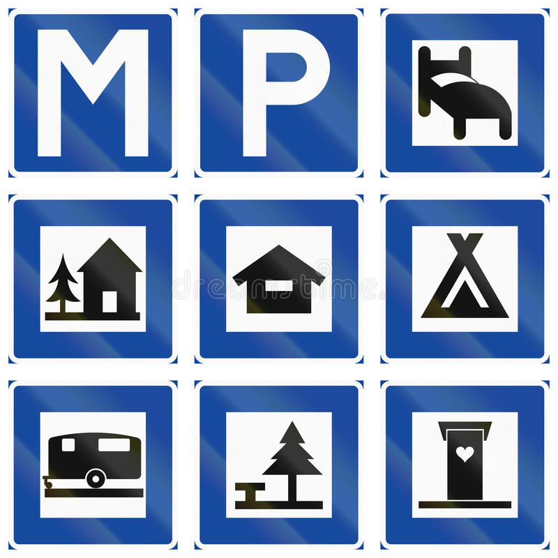Segnali stradali informativi utilizzati in Svezia illustrazione vettoriale