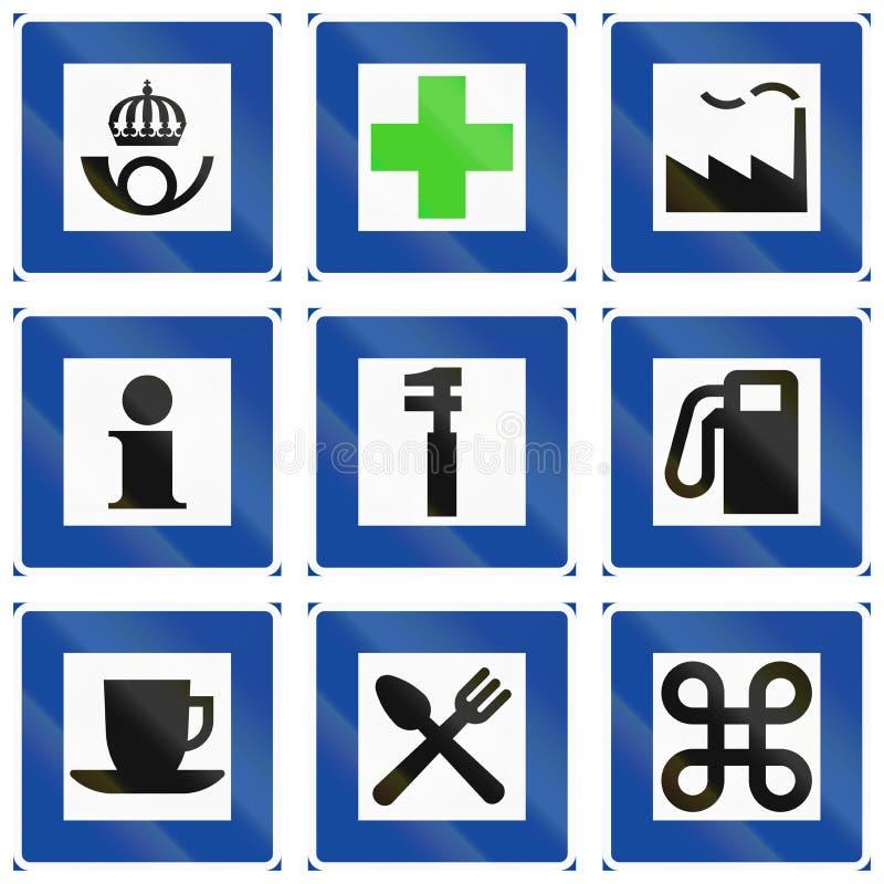 Segnali stradali informativi utilizzati in Svezia illustrazione di stock