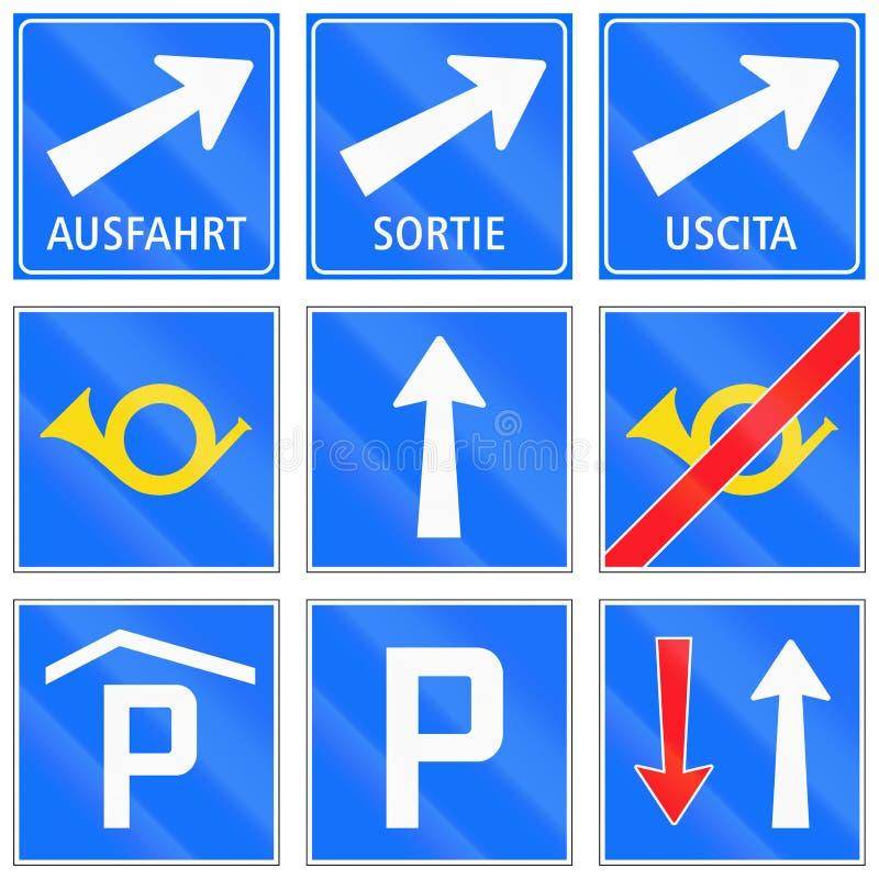 Segnali stradali informativi utilizzati in Svizzera illustrazione vettoriale