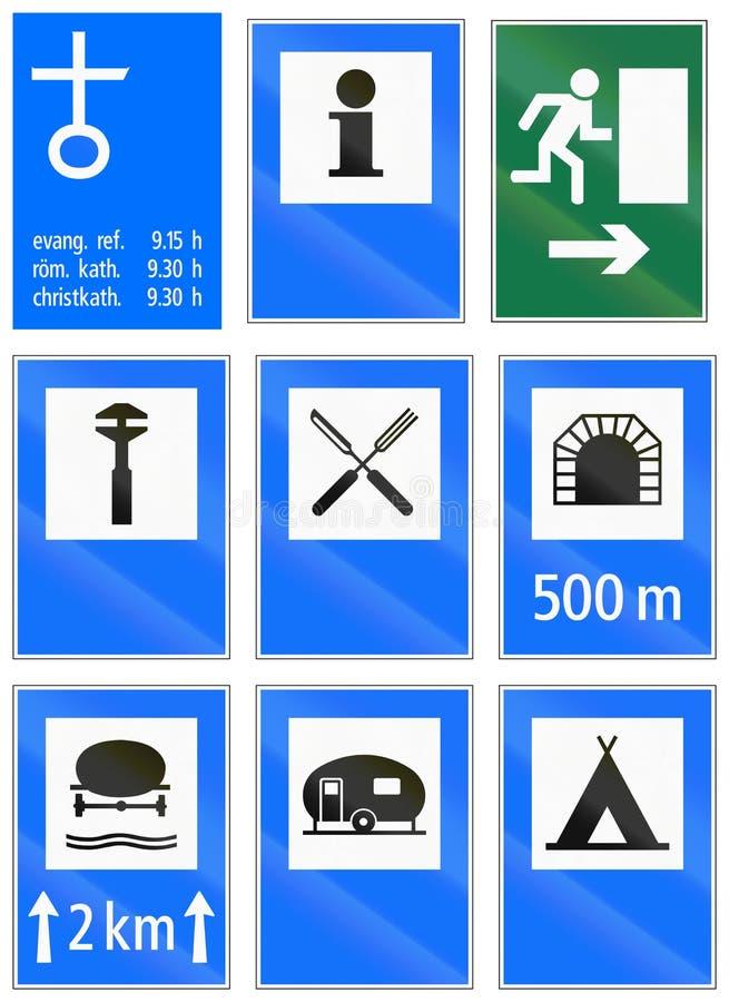 Segnali stradali informativi utilizzati in Svizzera royalty illustrazione gratis