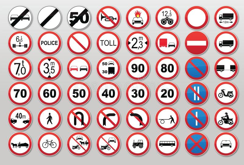 Segnali stradali - proibisca e limiti illustrazione vettoriale