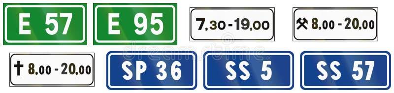 Segnali stradali utilizzati in Italia royalty illustrazione gratis