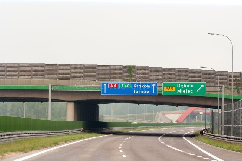Segnali stradali vuoti della strada principale, del ponte e con il nome della città fotografia stock