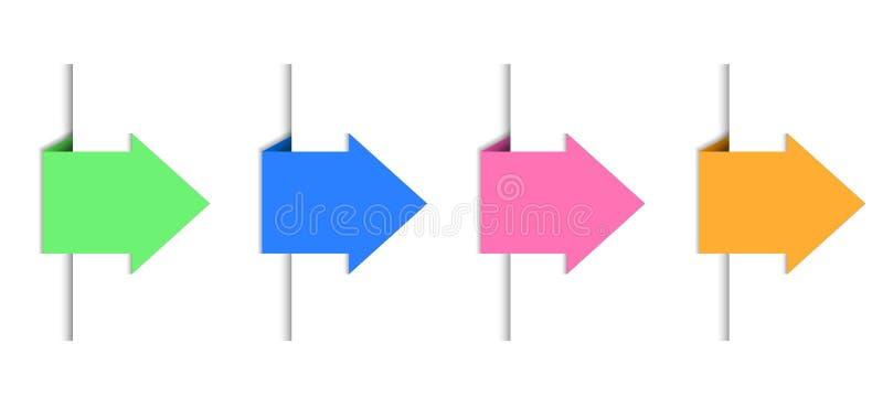 Segnalibri delle frecce di vettore, elementi variopinti di progettazione isolati su fondo bianco, carta per appunti e segni color illustrazione di stock