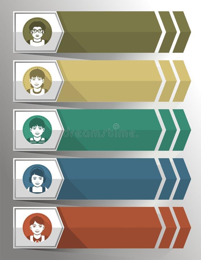Segnalibri e freccia per testo che descrive la gente illustrazione vettoriale