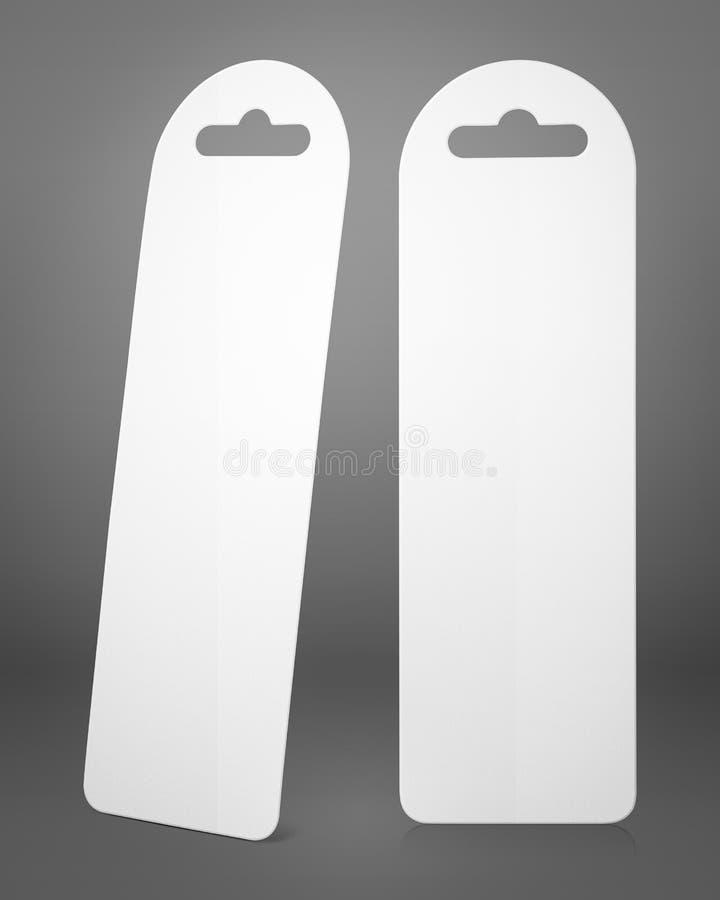 Segnalibro in bianco su fondo grigio Indicatore vuoto della pagina per progettazione immagine stock libera da diritti