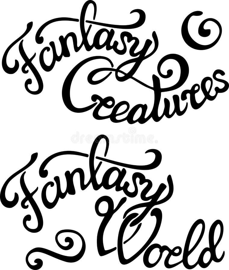 Segnando con le frasi di fantasia su fondo bianco illustrazione vettoriale