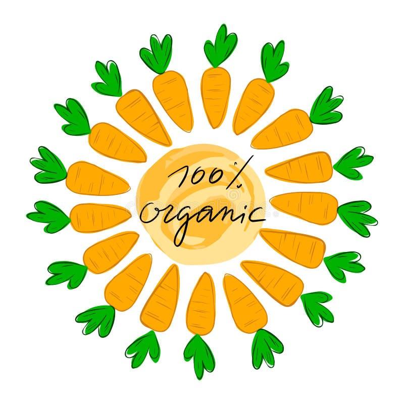 Segnando 100% con lettere organico con l'illustrazione di vettore della carota Logo, bollo Sano, fresco, organico, alimento di ec illustrazione vettoriale