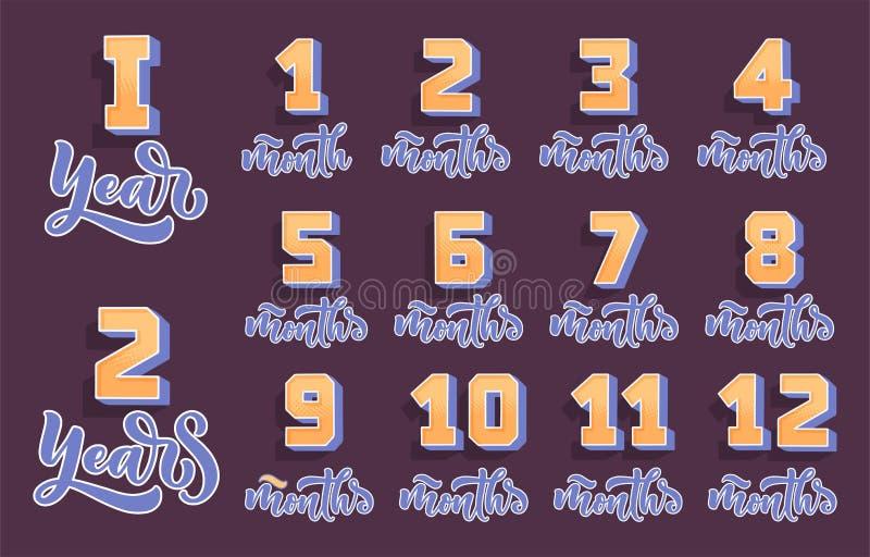 Segnando - mesi, anni e numeri 3D per il modello neonato Bambino di buon compleanno, concetto 'nucleo familiare' Simbolo di vetto illustrazione vettoriale
