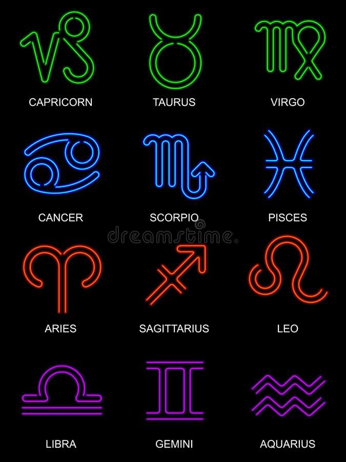 Segni al neon dello zodiaco illustrazione di stock