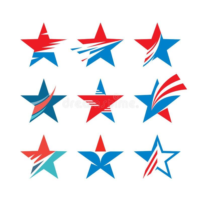 Segni astratti delle stelle - insieme creativo di vettore Raccolta di logo della stella Elemento di disegno illustrazione vettoriale