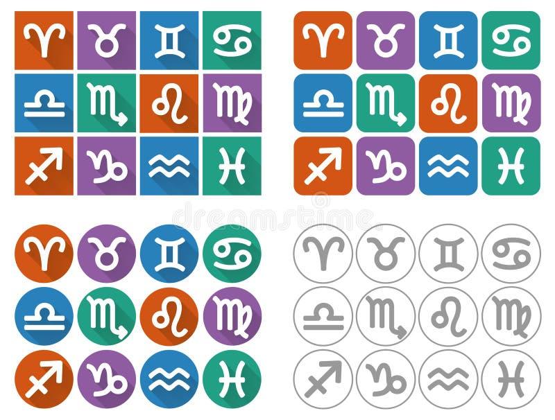Segni astrologici dello zodiaco Icone piane del quadrato di UI con ombra lunga illustrazione vettoriale