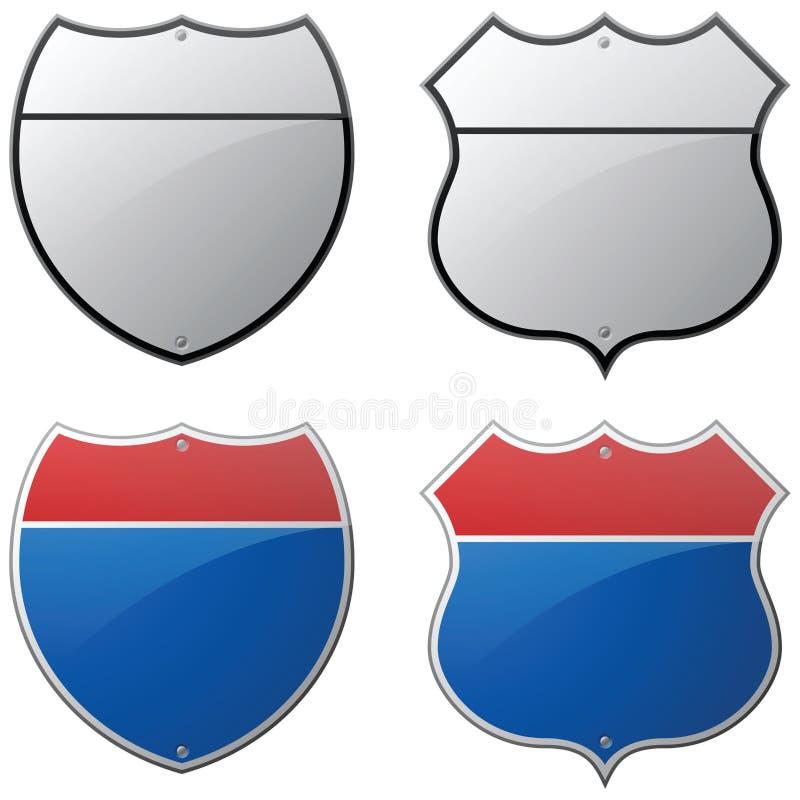 Segni in bianco della strada principale e da uno stato all'altro illustrazione vettoriale