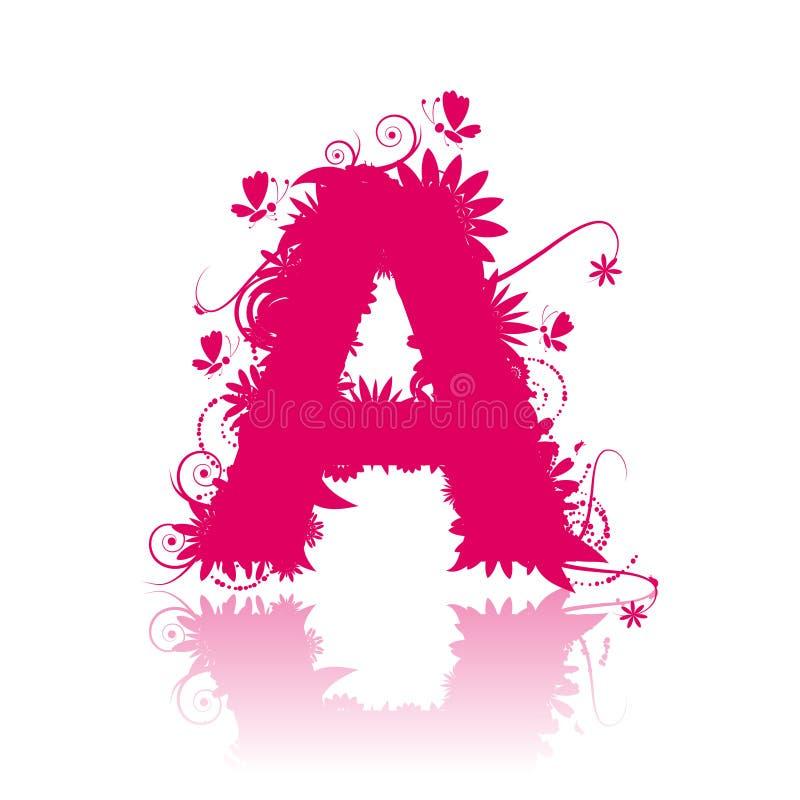 Segni A con lettere, stile floreale royalty illustrazione gratis