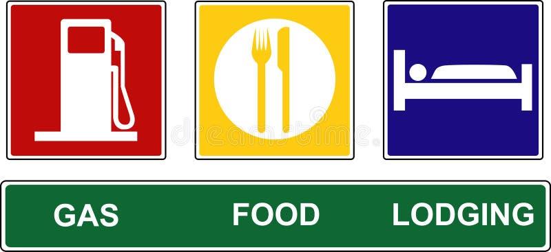 Segni d'alloggio dell'alimento del gas illustrazione di stock