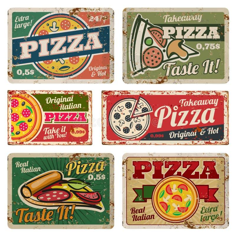 Segni d'annata del metallo della pizza con l'insieme di vettore di struttura di lerciume Retro manifesti dell'alimento nello stil illustrazione di stock