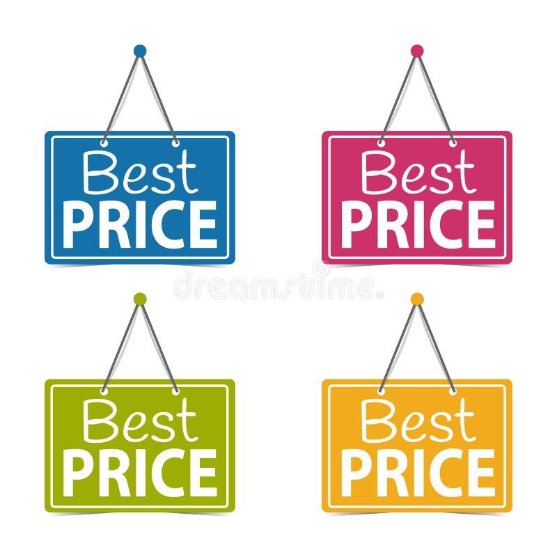 Segni d'attaccatura di affari di migliori prezzi - illustrazione di vettore - isolati su fondo bianco illustrazione vettoriale
