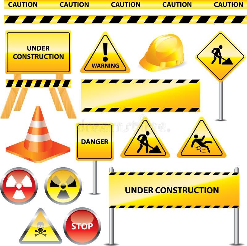 Segni d'avvertimento ed in costruzione royalty illustrazione gratis