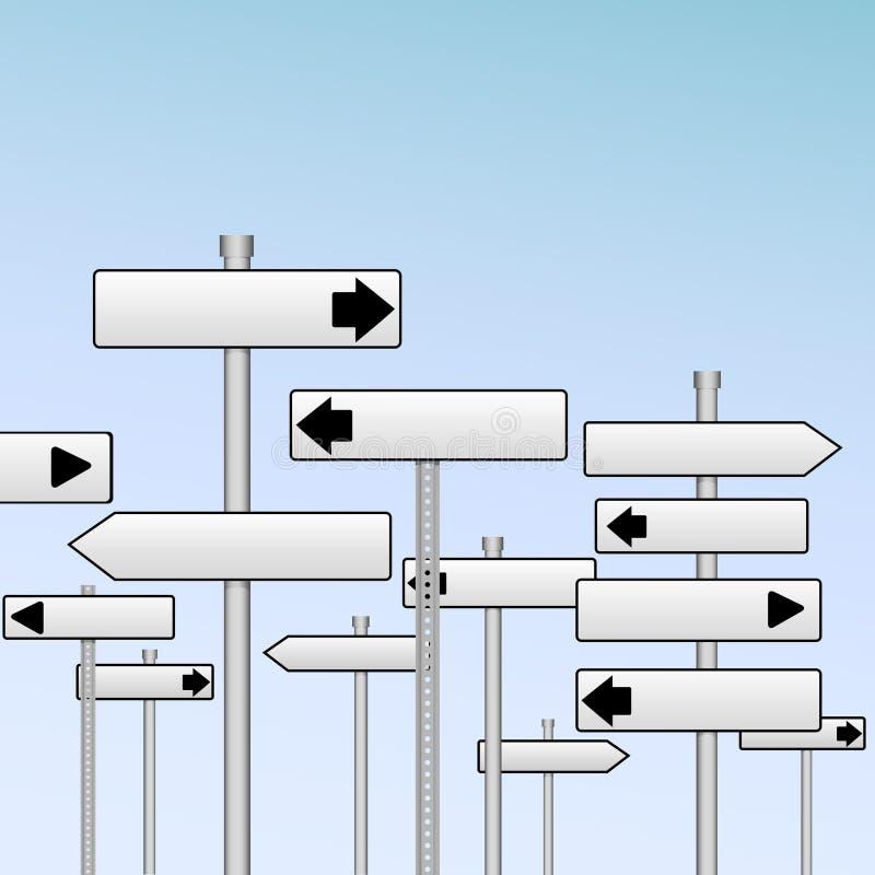 Segni da destra a sinistra est-ovest di decisione di corsa della strada principale illustrazione di stock