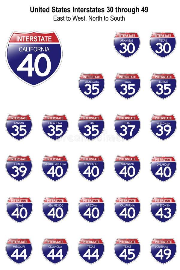 Segni da uno stato all'altro I-30 degli Stati Uniti a I-49 illustrazione di stock