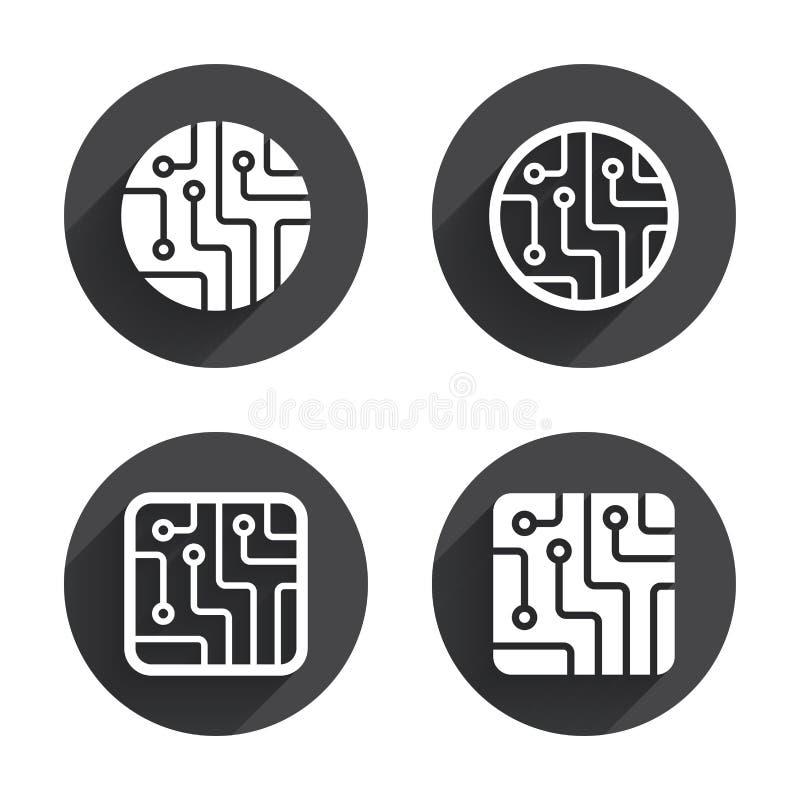 Segni del circuito Icone di schema di tecnologia illustrazione di stock