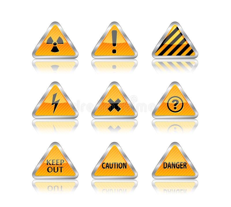Segni del pericolo e di rischio illustrazione di stock