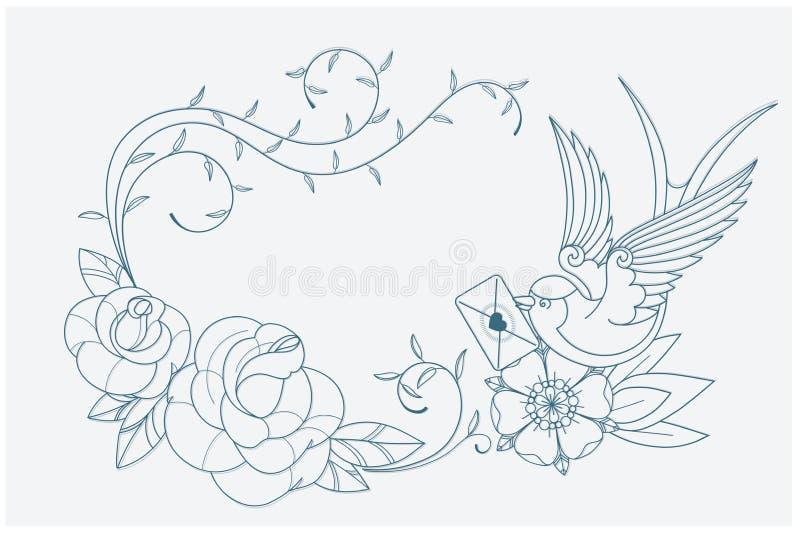 Segni del tatuaggio della vecchia scuola della pagina di coloritura di tema di amore royalty illustrazione gratis