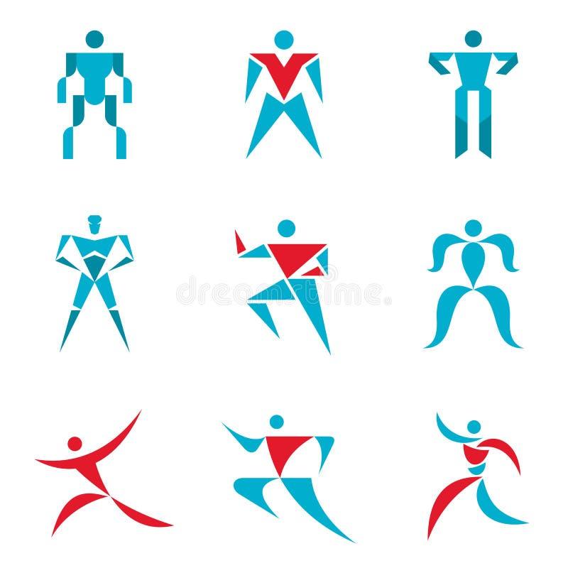 Segni della gente - raccolta creativa di vettore Figure umane - icone di vettore messe Logo umano di vettore Modello di logo di v illustrazione vettoriale
