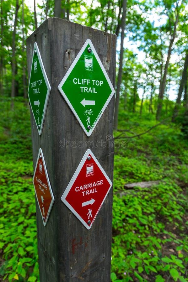 Segni della traccia, parchi di Ontario immagine stock libera da diritti