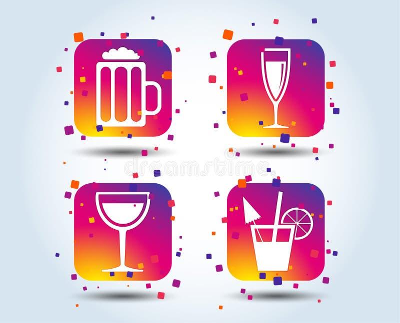 Segni delle bevande alcoliche Champagne, icone della birra royalty illustrazione gratis