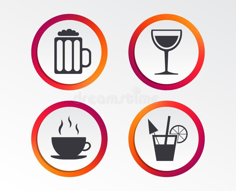 Segni delle bevande Tazza di caffè, vetro delle icone della birra illustrazione vettoriale