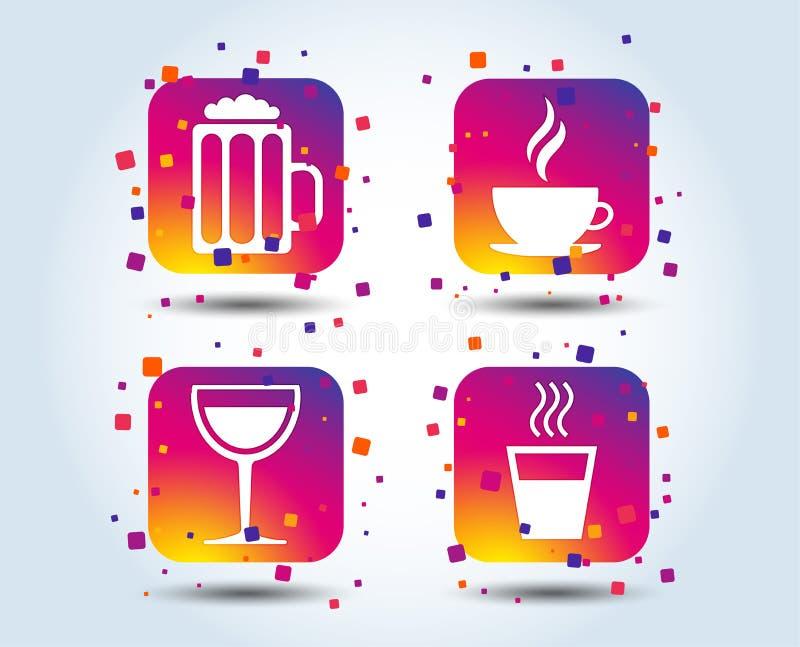 Segni delle bevande Tazza di caffè, vetro delle icone della birra illustrazione di stock