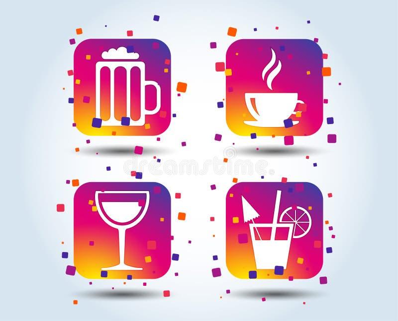 Segni delle bevande Tazza di caffè, vetro delle icone della birra royalty illustrazione gratis